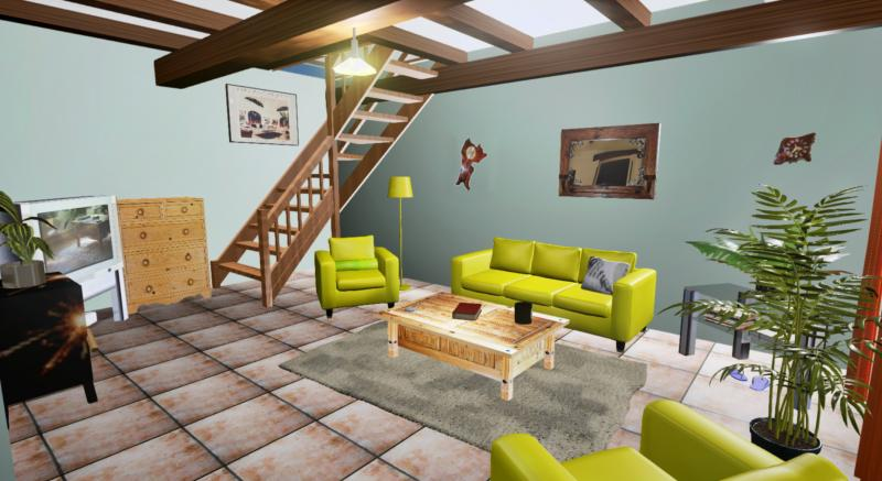 Gite Living Room with Staircase